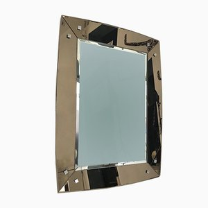 Italian Mirror with Smoked Glass Frame from Fontana Arte, 1970s