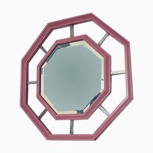 Specchio ottagonale Mid-Century con cornice in legno e metallo, Italia, anni '70