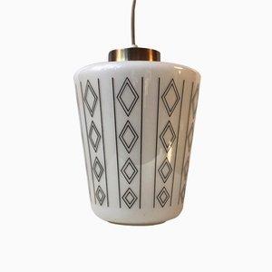 Lámpara colgante danesa Mid-Century de cristal opalino