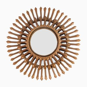 Mid-Century Metal Sunburst Mirror from Chaty Vallauris