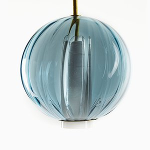 Moire Collection Pendant in Ocean Blue Hand-blown Glass by Atelier George
