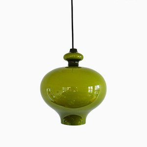 Green Glass Pendant Lamp by Hans Agne Jakobsson for Markaryd, 1960s