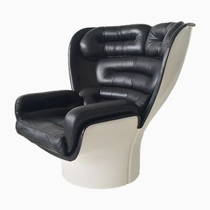 Black Leather Elda Lounge Chair by Joe Colombo for Comfort, 1970s