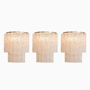 Murano Glas Wandleuchten von Tronchi, 1960er, 3er Set
