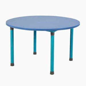Mesa de comedor redonda azul, años 70