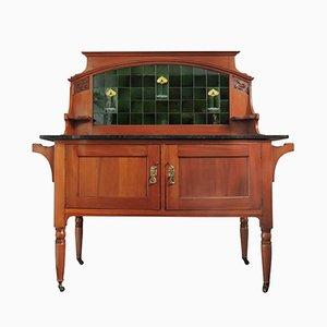 Portacatino Art Nouveau in legno di noce e marmo con piastrelle