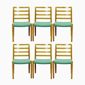 Skandinavische Vintage Eiche Esszimmerstühle von Niels Otto Møller für J.L. Møllers, 6er Set