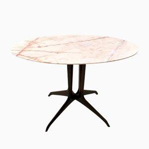 Mesa de centro italiana con tablero de mármol rosa portugués, años 50