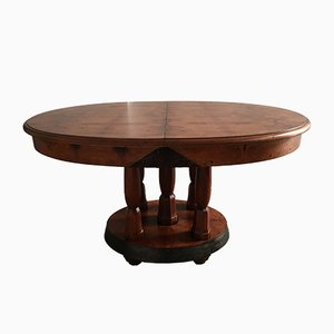 Art Deco Round French Burl Walnut & Mahogany Dining Table, 1930s