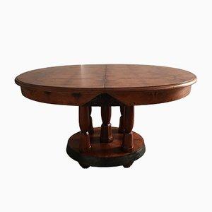 Mesa de comedor francesa Art Déco de madera de nogal nudosa y caoba, años 30