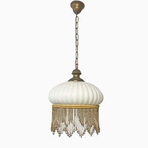 Lampe à Suspension Vintage en Verre Opalin avec Franges, Italie