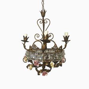 Italienischer Mid-Century Kronleuchter aus Kristallglas & Porzellanblumen