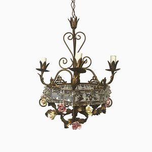 Mid-Century Italian Crystal & Porcelain Flower Chandelier