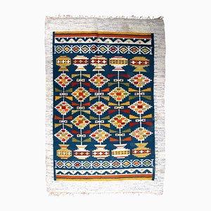 Handgemachter flachgewebter skandiavischer Vintage Kelim Teppich, 1950er