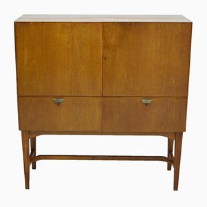 Bar Cabinet with Compartment in Golden Glass from Nordiska Kompaniet, 1950s