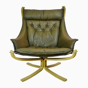 Danish Brown Leather Falcon Lounge Chair by Sigurd Ressell for Vatne Møbler, 1970s