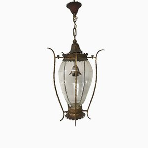 Vintage Gilded Metal Pendant Light