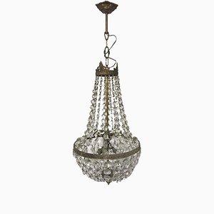 Vintage Italian Crystal Imperial Basket Chandelier