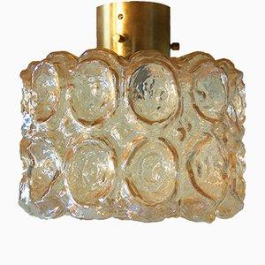 Bernsteingelbe Glas Deckenlampe von Limburg, 1960er