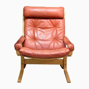 Siesta Leather Lounge Chair by Ingmar Relling for Westnofa, 1970s