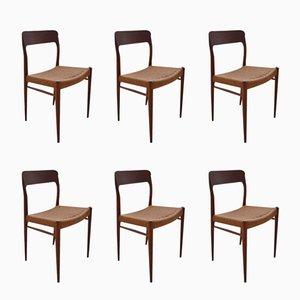 Chaises de Salon Modèle 75 en Teck par Niels O Moller pour J L Mollers, Danemark, Set de 6