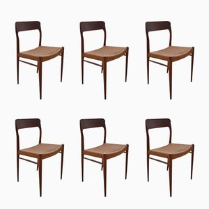 Danish Teak Model 75 Dining Chairs by Niels O Moller for J L Mollers, Set of 6