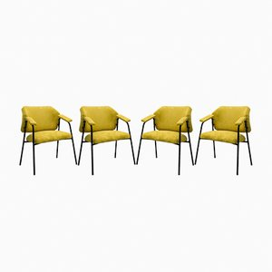 Tubular Metal & Yellow Fabric Armchairs, 1958, Set of 4