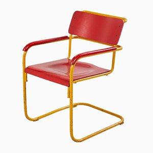 Chaise de Style Bauhaus Rouge et Jaune, 1960s