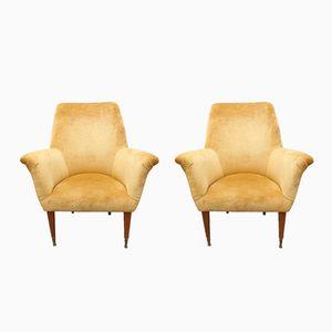Italienische Mid-Century Sessel in goldenem Samtbezug, 1950er, 2er Set