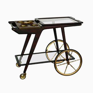 Mid-Century Italian Brass & Rosewood Bar Cart by Cesare Lacca