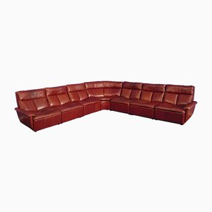 Rotes modulares Leder Sofa, 1970er