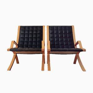 Vintage Danish Lounge Chairs by Orla Mølgaard-Nielsen for Fritz Hansen, 1980s, Set of 2