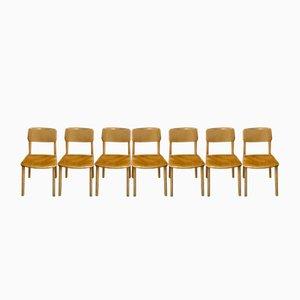 Mid-Century Beistellstühle aus Holz von Castelli, 7er Set