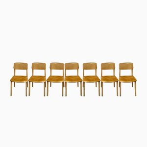Mid-Century Wooden Side Chairs from Castelli, Set of 7
