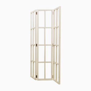 Vintage White Lacquered Wood Screen, 1970s