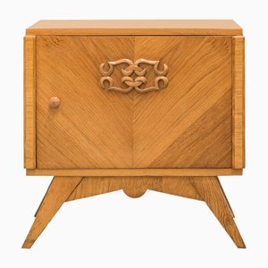 Art Deco French Oak Nightstand, 1930s