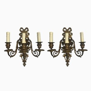 Italian Bronze Sconces, 1940s, Set of 2