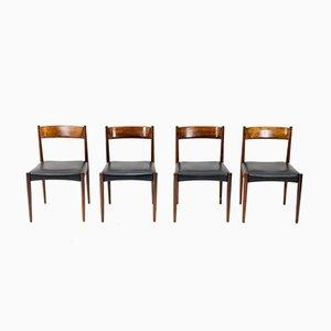 Esszimmerstühle aus Palisander und schwarzem Leder von Lübke, 1960er, 4er Set