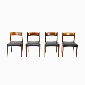 Rosewood and Black Leather Dining Chairs from Lübke, 1960s, Set of 4
