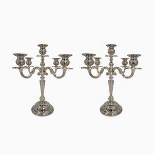 Silberne Vintage Kerzenständer, 2er Set
