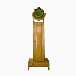 Oak and Ceramic Clock & Cabinet by Guillerme et Chambron for Votre Maison, 1950s