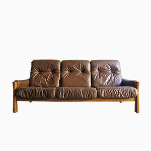 Vintage Oak Three-Seater Sofa with Faux Leather Cushions