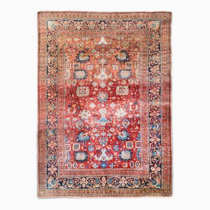Antique Heriz Silk Rug, 1850s