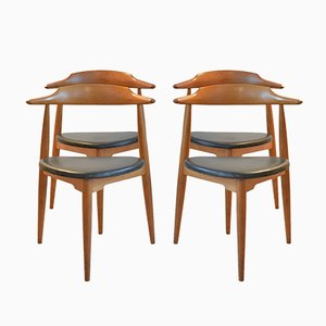 Oak No.4104 Heart Chairs by Hans J. Wegner for Fritz Hansen, 1965, Set of 4