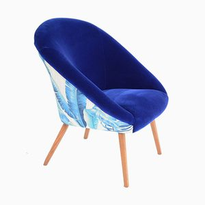 Vintage Shell Chair in Blue and White, 1970s