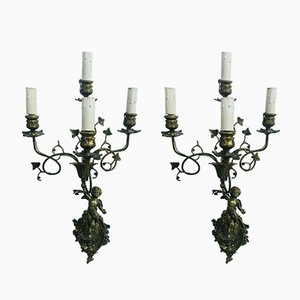 Italian Bronze Sconces, 1920s, Set of 2