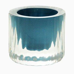 Coquetier avec Center Turquoise, Collection Moire, en Verre Soufflé à la Main par Atelier George