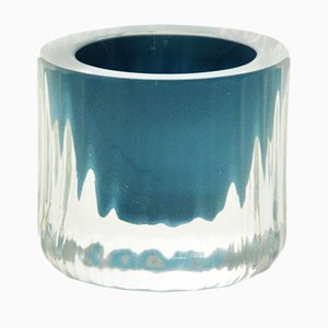 Egg-Cup with Turquoise Center, Moire Collection, Hand-Blown Glass by Atelier George