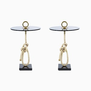 Mesas auxiliares italianas Mid-Century de cuerda con tiradores de bronce de Banci, años 60. Juego de 2