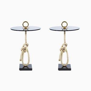 Tavolini Mid-Century in corda con manici in bronzo di Banci, Italia, anni '60, set di 2